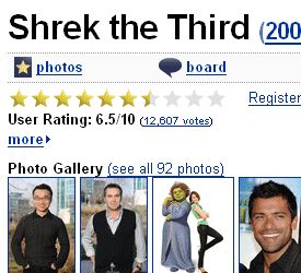 Shrek 3 at IMDb without the script